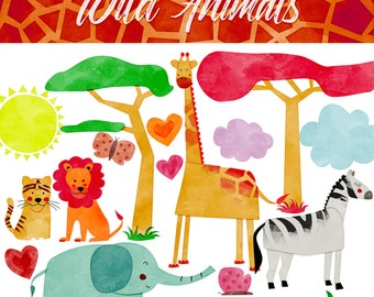 Wild Animals digital clipart. Watercolour clip art. African Clipart. Jungle, giraffe, lion, tiger, zebra, Vector Graphics. COMMERCIAL USE