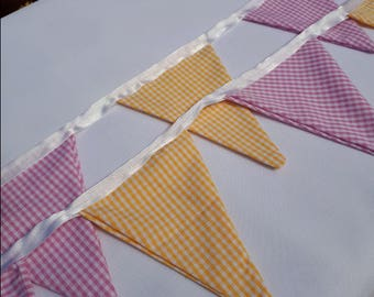 Pink and Yellow Gingham Bunting ( small)