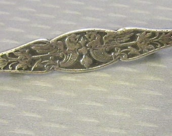 vintage etched STERLING BAR PIN 925 silver wings