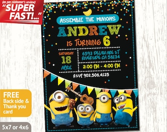 MINION PARTY INVITATION, Minion Invitation, Minion Birthday Invitation, Boy Minions Invite, Minion Birthday Party Invite, Minion Invite, v2b