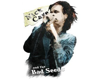 T-SHIRT: Nick Cave And The Bad Seeds - Classic T-Shirt & Ladies Fitted Tee - (LazyCarrot)