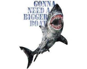 T-SHIRT: Jaws / A Bigger Boat - Classic T-Shirt & Ladies Fitted Tee - (LazyCarrot)