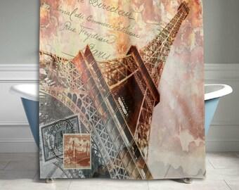 paris bathroom set. Vintage Paris Eiffel Tower Shower Curtain Bathroom Sets Home Decor 60 X 72  Inches bathroom decor Etsy