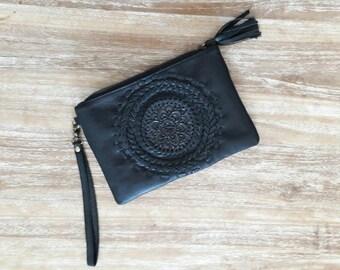 Woman Leather Wallet, bohemian leather wallet, Wallet for festival, black leather wallet, leather clutch, organizer wallet