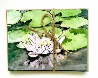 Nature lover Stationary gift set! 8 water lily postcards, blank zen watercolor flat cards | Set of 8 postcards (5.47 x 4.21 in./13.9 x 10.7