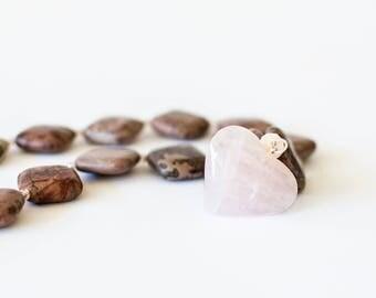 Girls heavenly stones necklace and pink quartz heart pendant.
