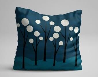 Moon Throw Pillow, Blue Throw Pillow, Moon Pillow, Fantasy Throw Pillow, Decorative Pillow, Art Throw Pillow, Artisan Pillow