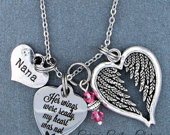 Nana ~ Her Wings Were Ready, My Heart Was Not Memorial Necklace, Swarovski Birthstone, Sympathy Jewelry Memorial Gift, Personalized Gift