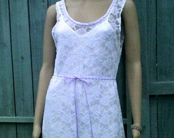 Handmade white lace dress
