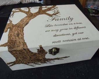 family quote tree of life hand pyrography wooden box
