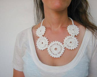 Bib necklace Crochet necklace Birthday gift Charm necklace Crochet jewelry Bib crochet White jewelry Gift for women Girlfriend gift