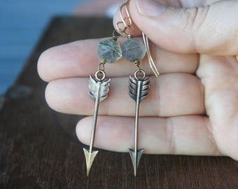 Arrow Earrings With Aged Smoky Czech Glass Beads French Brass French Findings Stampings