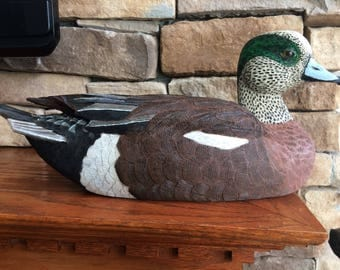 Hand carved American Wigeon decoy