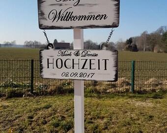 Willkommensständer, Wegweiser (Hochzeit) Variante5 Hochzeit/Vintage/Boho/individuell/Handgemacht/Türschild