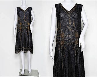 1920s Black and Gold Beaded Dress