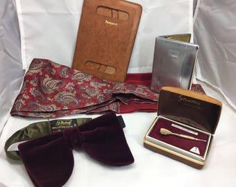 Gents Vintage Accessories from the 1960s. Cravat, Chrome Cigarette/Card Case, Velvet Bow -tie, English Stratton Tie clip etc.