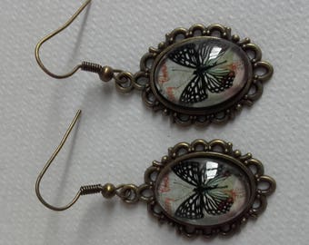 Antique bronze with cabochon earrings