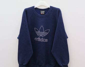 Vintage ADIDAS Sportswear Big Logo Blue Sweater Sweatshirt Size XL