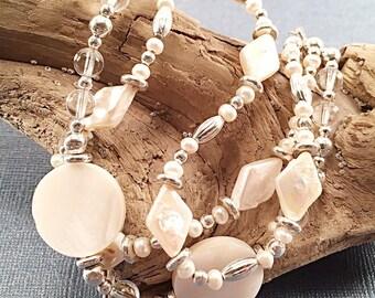 Pearl multi strand bracelet, pearl bracelet, silver bracelet, chunky bracelet, bohemian style, bridal bracelet, boho bride, one of a kind