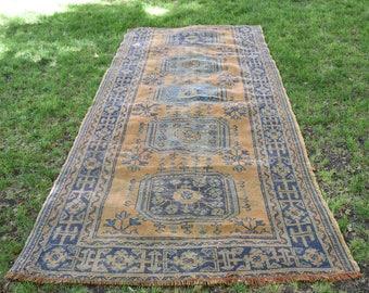 Navy Blue Runner Area Rug 4.5 x 10.4 feet Ethnic Runner Rug Bohemian Runner Rug Free Shipping Vintage Runner Rug Turkish Runner Rug  DC579