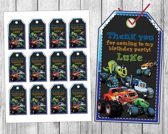 Blaze and the Monster Machines Thank You Tags, Blaze and the Monster Machines Favor Tags, Blaze and the Monster Machines Gift Tags