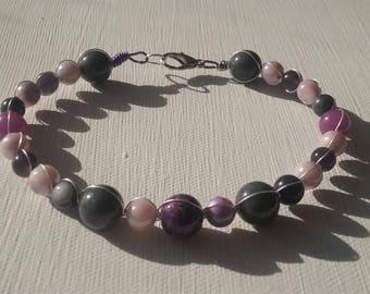 Purple Grey Pearl Bracelet