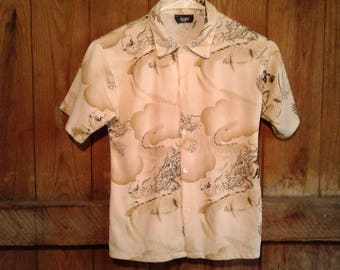 Oriental styled Button up Short Sleeve Size S