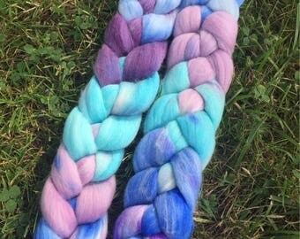 Merino Roving, 4 Ounces, Hand painted, Hand Dyed, Dyed Roving, Felting wool, Purple and Blues