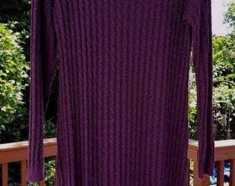 WILD ROSE Long Sleeve Plum Purple Cable Knit Sweater Dress. Vintage USA 1990s. All season. Comfy! Dress up, wear simply. Medium