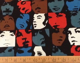 The 'In Crowd' face expression cotton fabric by the yard