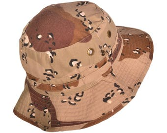 Camouflage/Camo Cotton Bucket Hats BK Caps with String (Desert Camo, Size: M/L)