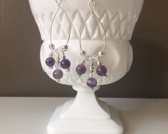 Amethyst Semi Precious Natural Gemstone Silver Boho Dangle Earring, Gypsy Earring, Purple Iridescent Jewelry, Beaded Earrings