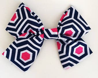 Pink & Navy Hexagon Bow