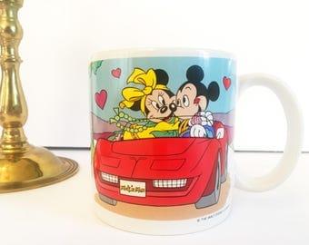 """Vintage Mickey and Minnie Mouse Mug, """"I love you!"""" Mug 1987"""