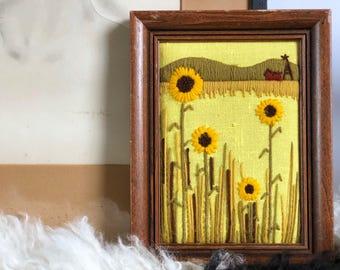 Vintage Sunflowers Crewel