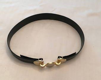 Dame Black Snakeskin Belt