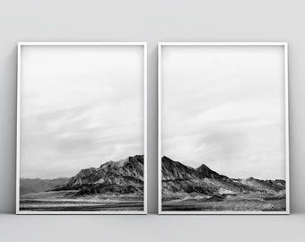 Black and White Mountain Print, Minimal 2 Piece Print, Landscape 2 Piece Print, Hills Printable Wall Art, Mountain Printable, 2 Piece Poster