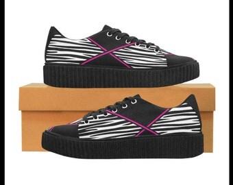 Criss Crossed Zebra Lightweight Casual Platform Sneakers
