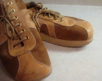 Rare Camper Leather Sport Hiking Tennis Shoes 1960's Rubber Sole Mens 8 1/2