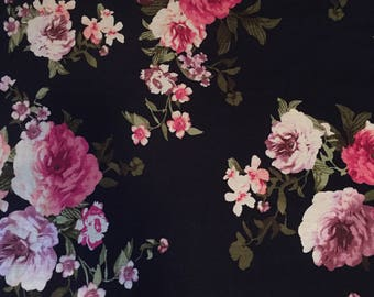 Floral Rayon Spandex - Stretchy Knit Fabric