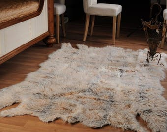 fake faux fur man made lama skin lamaskin shaggy plush rug size 866x531