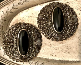 Vintage sterling silver marcasite and onyx earrings