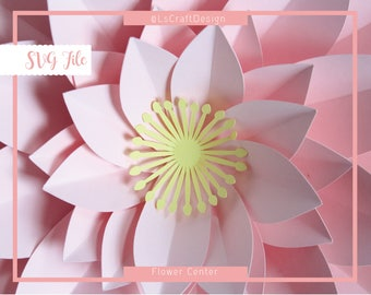 SVG Flower Center Template, Drop silhouette, Paper Flower Template, DIY Center Flower, Cricut and Silhouette Ready