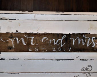 "Hand Painted Wall Sign ""Mr. and Mrs. est. 2017"""