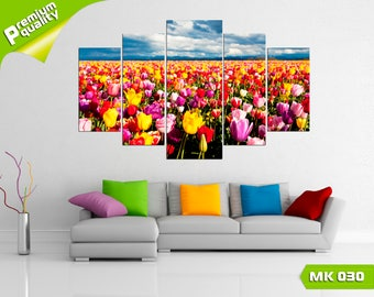 Field of spring flowers, Modular painting for Home & Office Decoration, Canvas print wall art, Poster home décor, Multi panel canvas print
