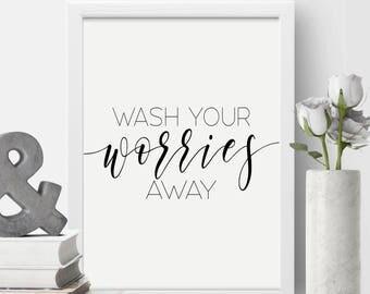 wash your worries wall bathroom artguest bathroom decor