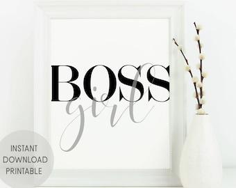 New job gift for her - Office wall art for women - Printable girl boss decor - Desk quote print