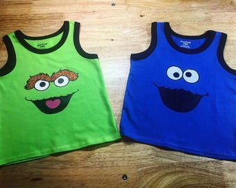 Grouch & Cookie Monster Kids' Tanks