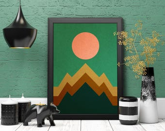 Minimalist Wall Art, Abstract Landscape, Mountain Print, Modern Art Print, Minimalist Art Print, Nature Wall Art, Instant Download