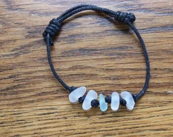 Light blue beach glass cord bracelet